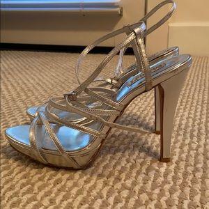 BADGLEY MISHKA Galen Silver Strappy Sandals
